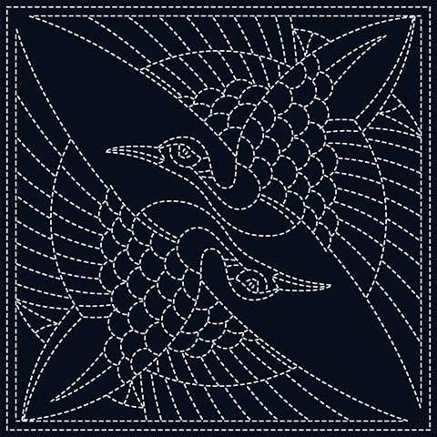 Sashiko Block - Two Cranes preview