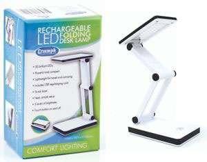 Triumph LED Rechargeable Folding Desk Lamp (White)
