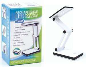 Triumph LED Rechargeable Folding Desk Lamp (White)