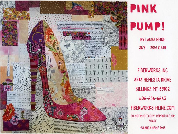 Pink Pump Collage Pattern by Laura Heine of FiberWorks preview
