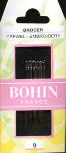 Bohin - Crewel/Embroidery Needles - Sizes 9