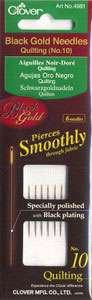 Clover Black Gold Quilting Needles Size 10 (6ct)