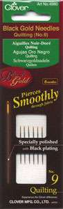 Clover Black Gold Quilting Needles Size 9 (6ct)