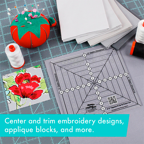 Creative Grids 6-1/2in Square It Up & Fussy Cut Square Quilt Ruler (CGRSQ6) preview
