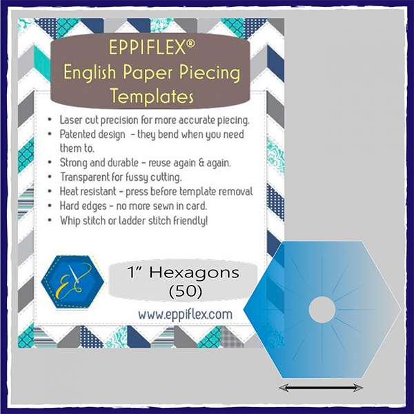 "Eppiflex English Paper Piecing Templates 1"" Hexagon (50 pieces) preview"