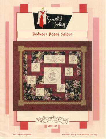Redwork Roses Galore - Pattern