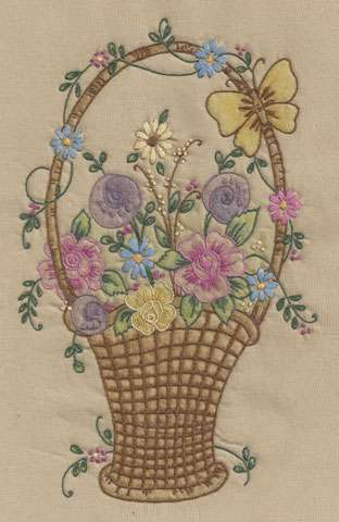 Vintage Basket #1 (Embroidery Design)