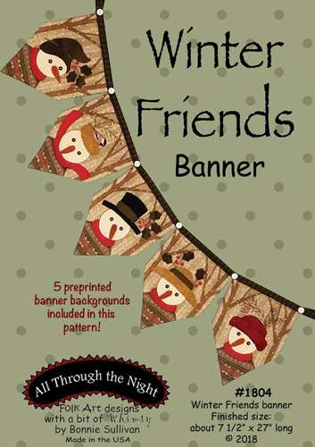 Winter Friends Banner Pattern (with preprinted backgrounds)
