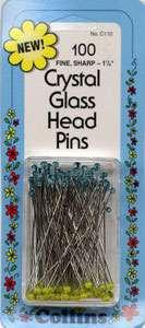 Crystal Glass Head Pins - 1 7/8 inch (100ct)