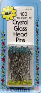 Crystal Glass Head Pins - 1 7/8 inch (100ct) preview