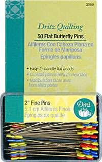 Dritz Flat Butterfly Pins - 2 inch (50 per pack)