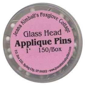 Glass Head Applique Pins 1 inch (150/box)