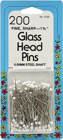 Collins Glass Head Pins - Fine