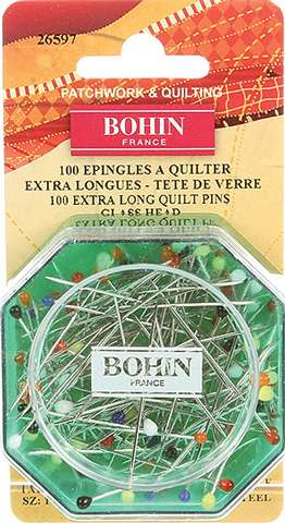 Bohin Extra Long Glass Head Quilt Pins