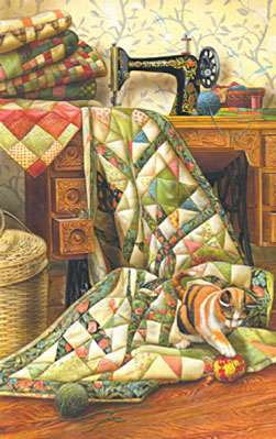 Cat on a Quilt Jigsaw Puzzle (1000pc)