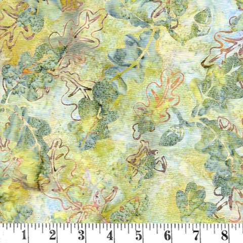 Q137 Handpaint oak leaf pink/gold on teal/grey