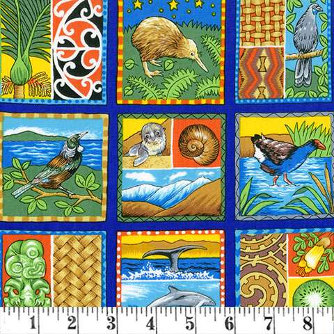 """Q375 Images of Aotearoa - 3"""" squares 30cm Repeat preview"""