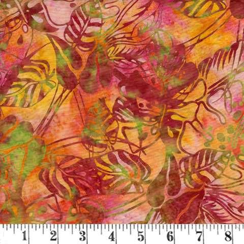 Q987 Batik - tropical leaves - nasturtium