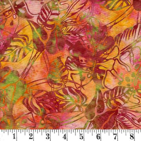 Q987 Batik - tropical leaves - nasturtium