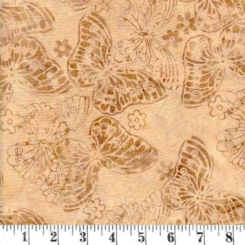 Q991 Batik - butterflies - latte
