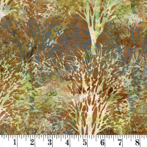 R621 Batik -  tree/ earth/green