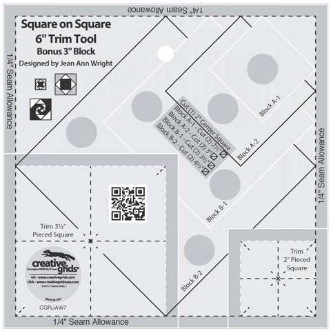 "Creative Grids Square on Square Trim Tool - 6"" CGRJAW7"