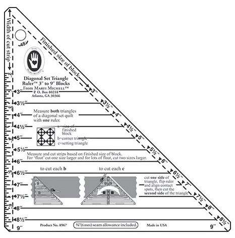 "Diagonal Set Triangle Ruler (3"" to 9"") by Marti Michell"