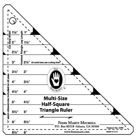 Multi-Size Half-Square Triangle Ruler by Marti Michell