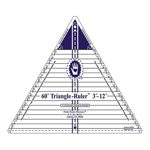 """Marti Michell 60-degree Triangle Ruler (3"""" to 12"""" Finished) preview"""