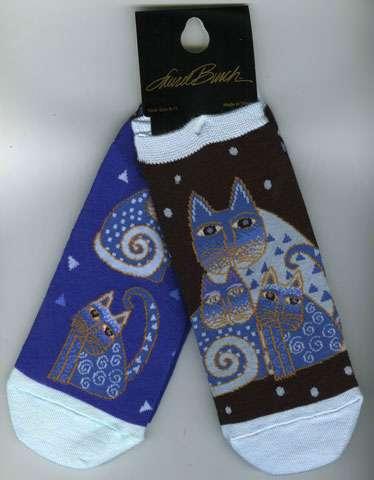Indigo Cat Socks - 2 pairs per pack (Laurel Burch)