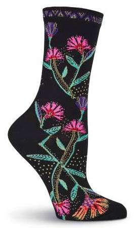 Laurel Burch Wildflowers Ankle Socks - Black
