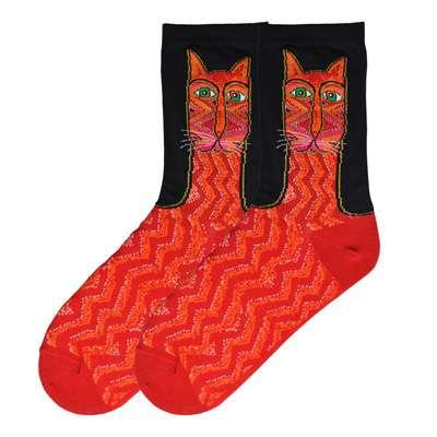 Tribal Zig Zag Cat Socks - Red
