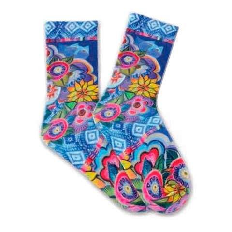 Laurel Burch Socks - Cat with Flowers