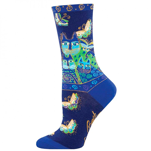 Laurel Burch Socks - Indigo Cat Blue preview