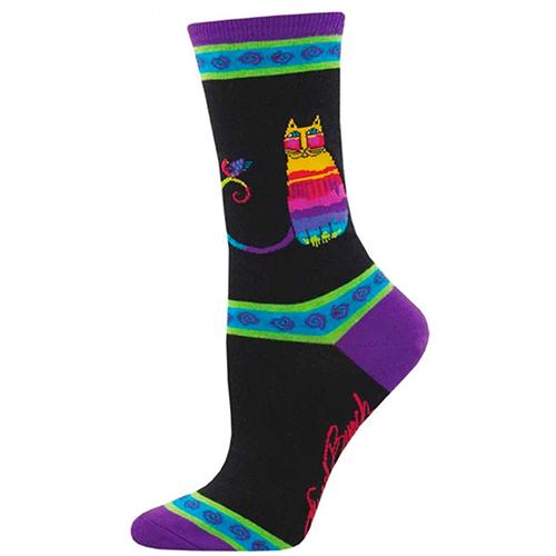 Laurel Burch Socks - Rainbow Cat Black preview