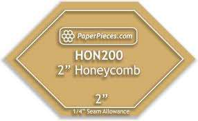 "Acrylic 2 Inch Honeycomb Cutting Template with 1/4"" Seam Allowance"