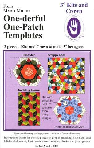 """One-derful One-Patch Templates - 3"""" Kite and Crown (Marti Michell) preview"""