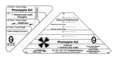 "Pineapple 1 1/4"" Finished Strip Template Set (Marti Michell)"