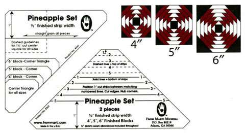 """Pineapple 1/2"""" Finished Strip Template Set by Marti Michell preview"""