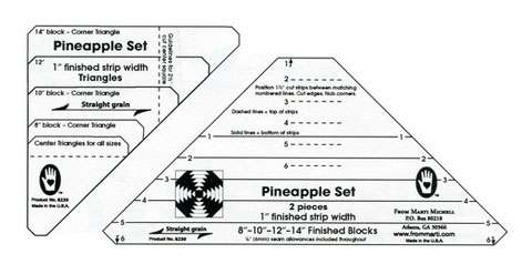 "Pineapple 1"" Finished Strip Template Set by Marti Michell"