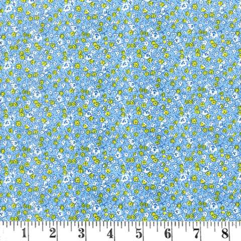 U914 Toy Box Teeny Flowers Cream Yellow Blue