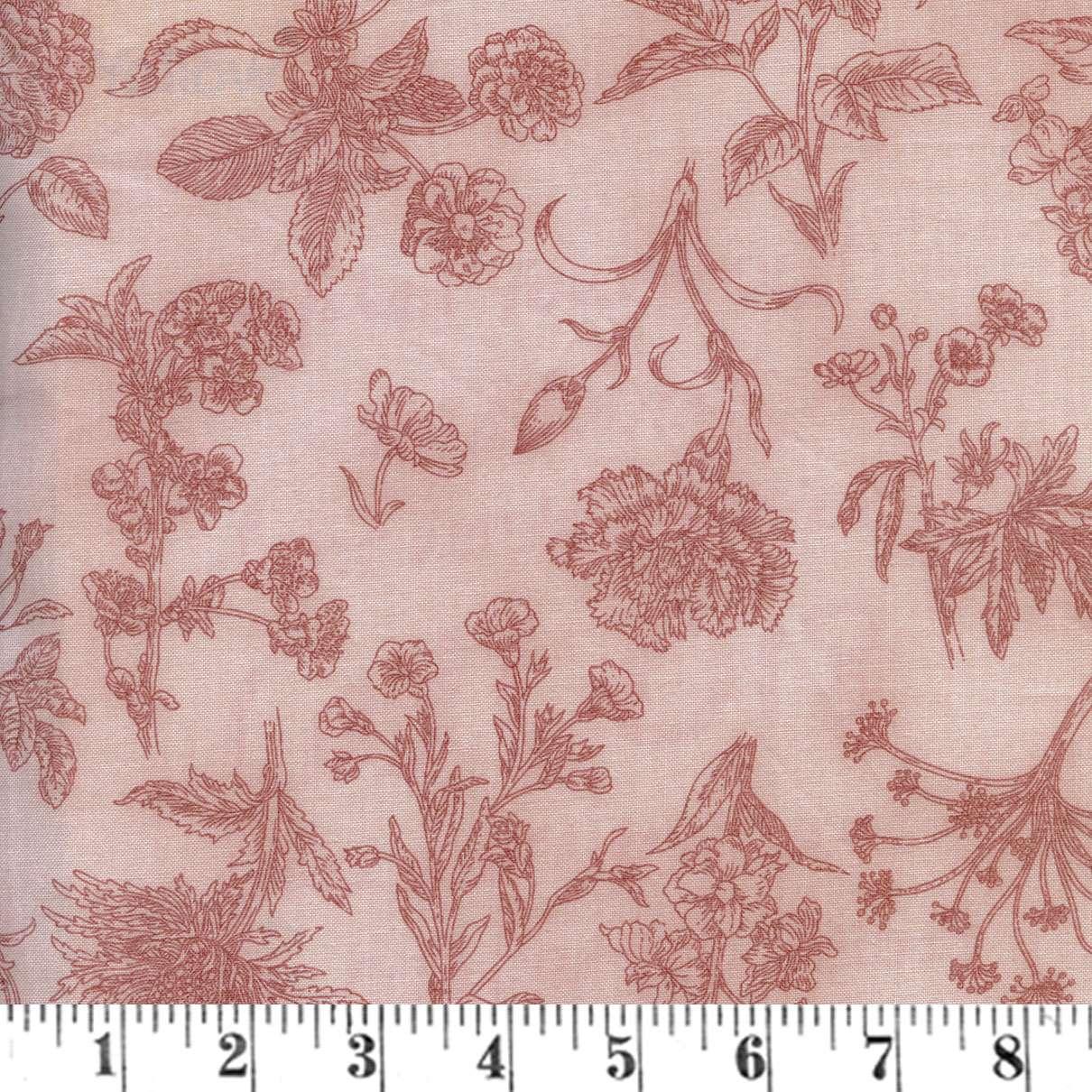 V117 Field Notes - floral tone-on-tone dusky peach