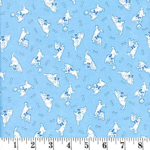 V127 Give a Dog a Bone - puppies cream/blue