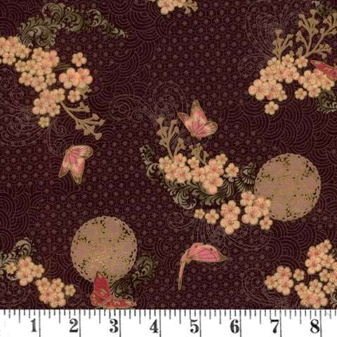 V256 Asian Peony - butterflies/blossoms pink/cream/aubergine