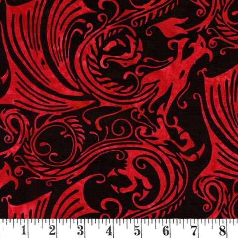 V421 Batik - hand-paint swirl red/black