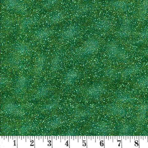 V595 Winter Wishes - speckles green/gold metallic overlay