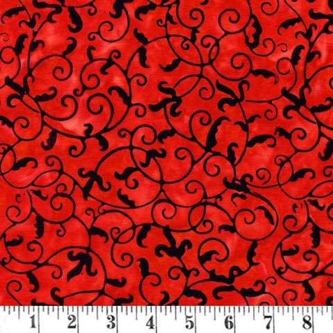 V708 Batik - leaf/vine small red/black