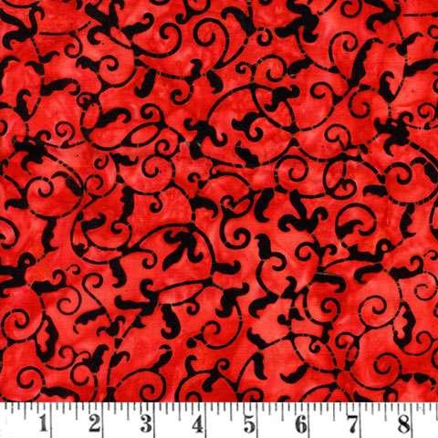 V709 Batik - vine/leaf medium red/black