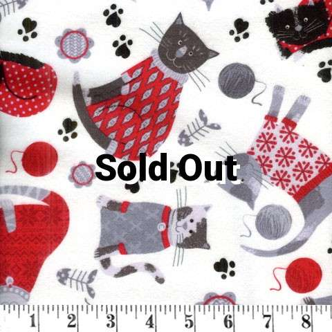 W932 Flannel - Knitty Kitty - red cozy cats preview