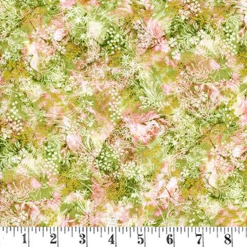 X065 Serene Garden - subtle pink & green